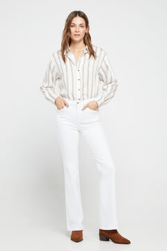 Cortefiel High rise bell-bottom jeans White
