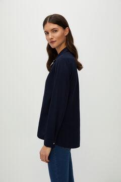 Cortefiel Piqué jersey-knit shirt Navy