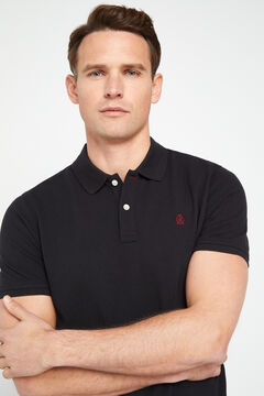 Cortefiel Short-sleeved logo polo shirt Black