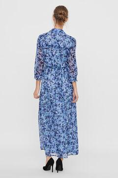 Cortefiel Long printed dress Royal blue