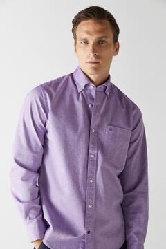 Cortefiel Plain organic cotton Oxford shirt Plum