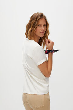 Cortefiel T-shirt with pocket and headscarf White