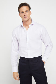 Cortefiel Tailored dress shirt in textured fabric Pink