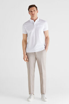 Cortefiel Short-sleeved polo shirt White