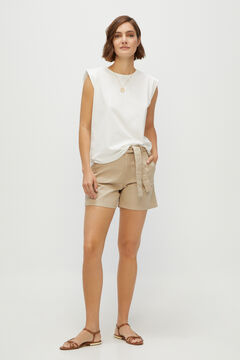Cortefiel Shoulder pads T-shirt White