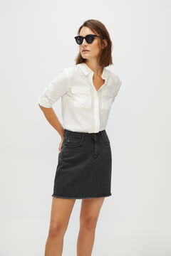 Cortefiel Short denim skirt Black