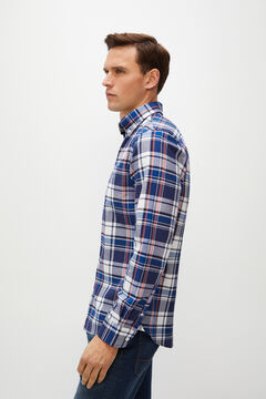 Cortefiel Checked organic cotton Oxford shirt Navy