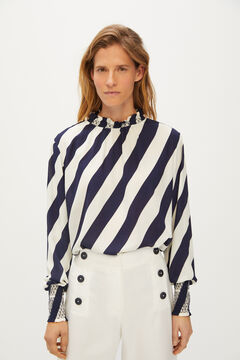 Cortefiel Elasticated collar and cuffs top Blue