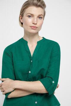 Cortefiel Linen shirt Green