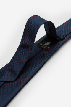 Cortefiel Checked tie with contrast outline Navy