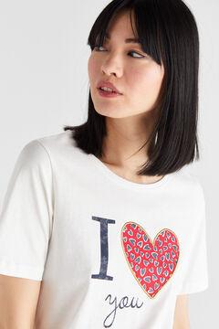 Cortefiel Camiseta corazones algodón orgánico Blanco