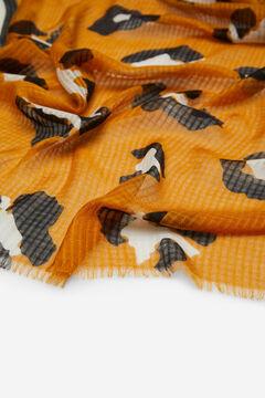 Cortefiel Lenço de seda estampado leopardo e riscas Amarelo