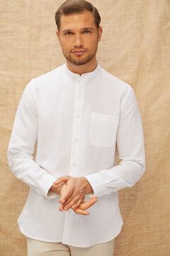 Cortefiel Camisa cuello mao algodón lino Blanco