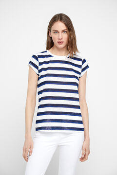 Cortefiel Striped linen effect t-shirt Blue
