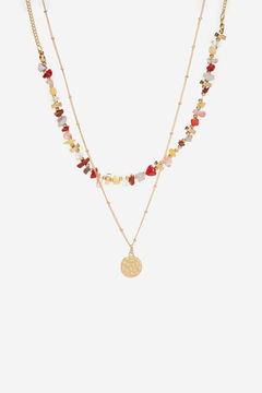 Cortefiel Coloured stones double necklace Natural