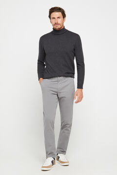 Cortefiel Slim fit winter weight chinos Gray