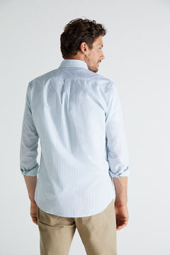 Cortefiel Striped shirt in extra soft, easy care cotton Gray
