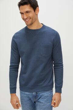 Cortefiel Sweatshirt gola caixa Azul