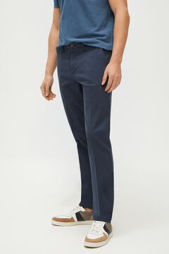 Cortefiel Textured slim fit trousers with elasticated waist Navy