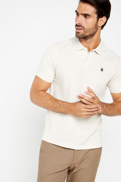 Cortefiel Essential short-sleeved polo shirt Ecru