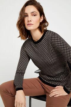 Cortefiel Lurex jacquard jumper Black