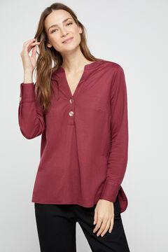 Cortefiel Blusa confort manga comprida Vermelho