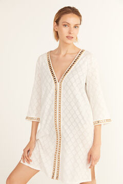 Cortefiel Tunic kaftan with mirrored ribbon White