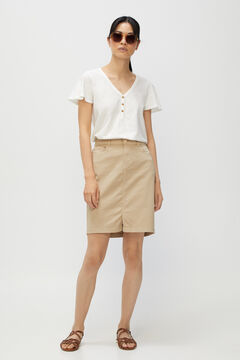 Cortefiel Basic t-shirt with buttons White