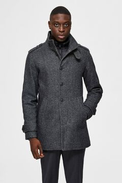 Cortefiel Recycled wool coat with buttons Gray