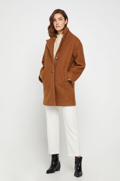 Cortefiel Eco-friendly bouclé coat Brown