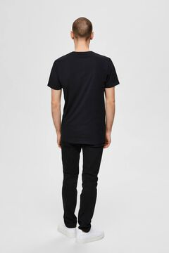 Cortefiel 3-pack organic cotton t-shirts Black