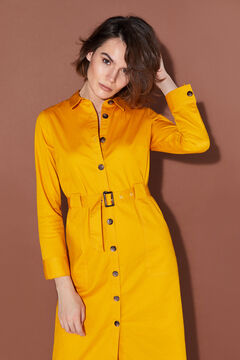 Cortefiel Belted serge dress Yellow