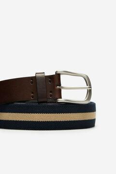 Cortefiel Striped canvas belt Navy