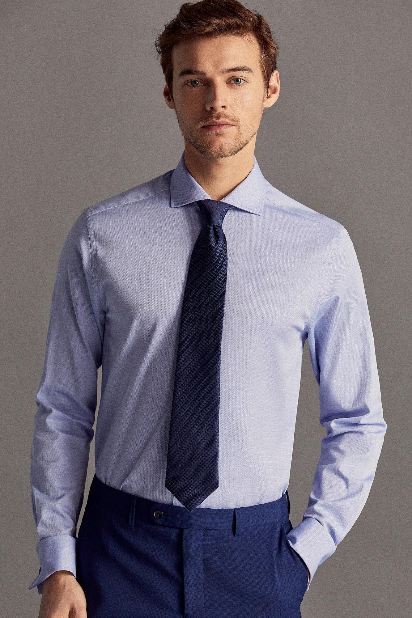 Cortefiel De Tailored Camisa Gemelos Azul Vestir qrwr5S78