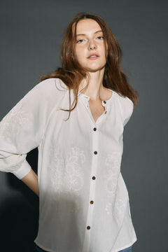 Cortefiel Embroidered blouse White