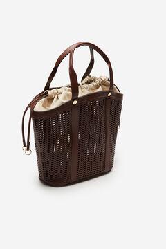 Cortefiel Large cutwork basket bag Dark brown