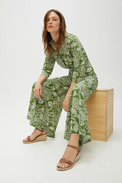 Cortefiel Printed lapel collar jumpsuit Green