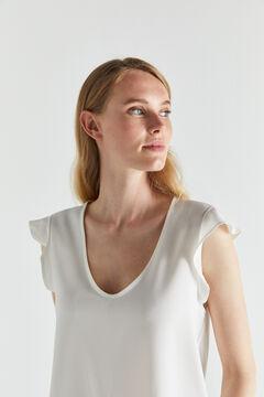 Cortefiel Flounced contrast top White