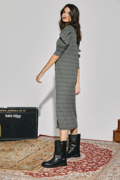 Cortefiel Jersey-knit dress with puffed sleeves Green