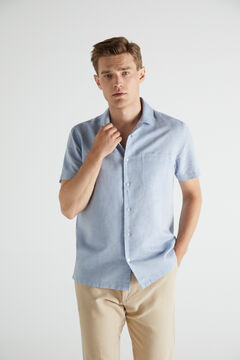 Cortefiel Plain short-sleeved camp collar shirt Stone