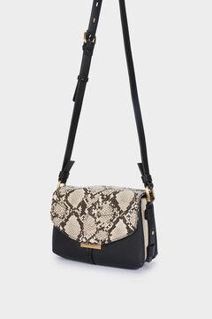 Cortefiel Faux snakeskin crossbody bag Black