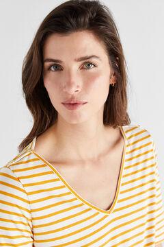 Cortefiel V-neck organic cotton t-shirt Blue