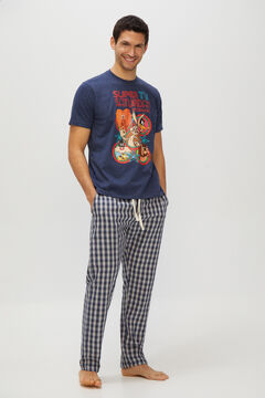 Cortefiel Looney Tunes jersey-knit and woven pyjamas Blue jeans