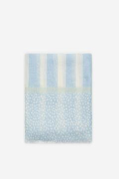 Cortefiel Polka-dot and stripes fine scarf Blue