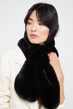 Cortefiel Faux fur stole Black