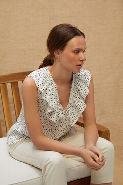 Cortefiel Sleeveless blouse Ecru