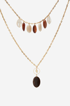 Cortefiel Double chain pendant with stones Stone