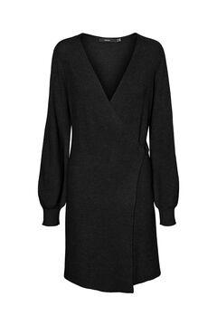 Cortefiel Jersey-knit crossover dress Black