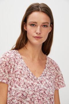 Cortefiel Lace linen-effect T-shirt Pink