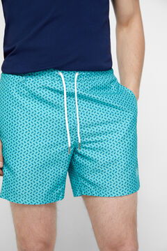 Cortefiel Microprint recycled polyester swimming shorts Green